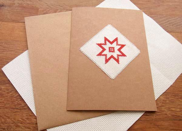 cartolina natalizia a punto croce