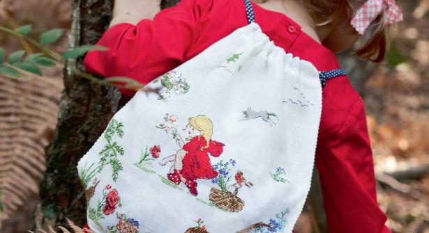 sacca asilo in lino con cappuccetto rosso