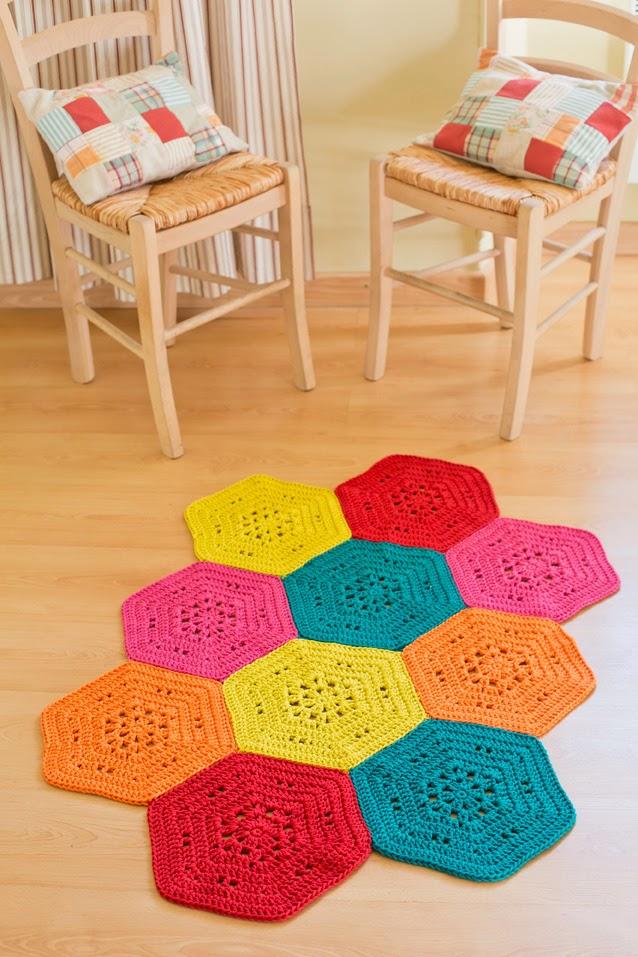 Realizzare un tappeto all uncinetto piastrelle esagonali - Piastrelle esagonali uncinetto ...