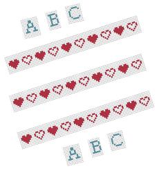 bordocuori e alfabeto punto croce per cartoline a punto croce.