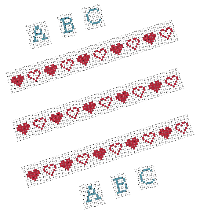 bordocuori e alfabeto punto croce