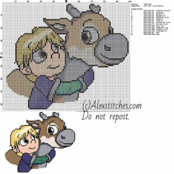 Baby Kristoff and Sven disney frozen free cross stitch pattern 100x86 14 colors