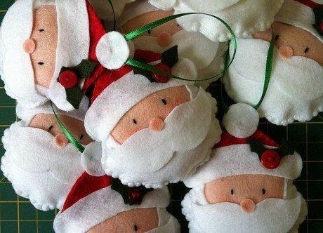 Pannolenci Lavoretti Di Natale.Decorazioni In Feltro Babbo Natale Arte Del Ricamo